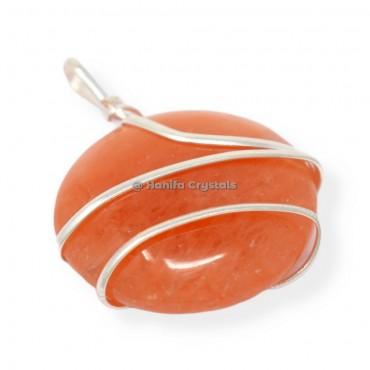 Peach Aventurine Circle Wire Wrap Pendant