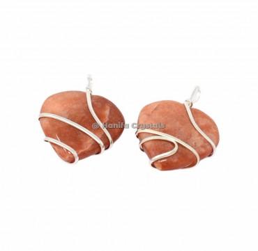 Dark Peach Aventurine Wire Wrap Pendants