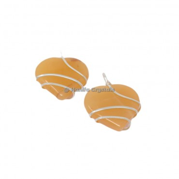 Yellow Aventurine Heart Wire Wrap Pendant
