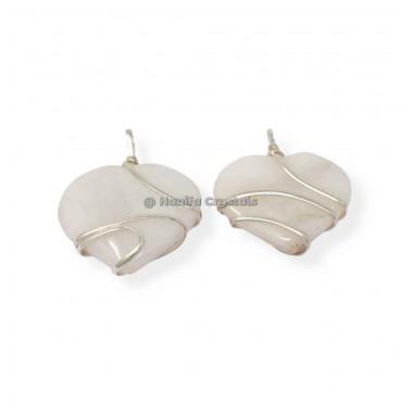 White Agate Heart Wire Wrap Pendant