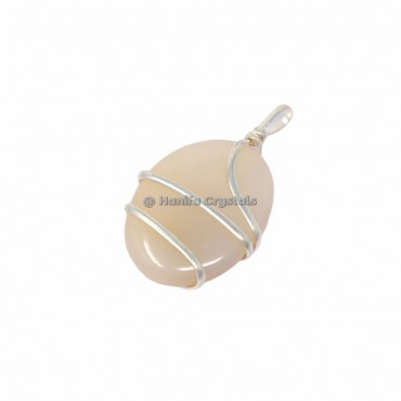Crystal Quartz Oval Wire Wrap Pendants