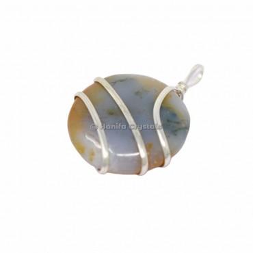 Grey Agate Round Wire Wrap Pendants
