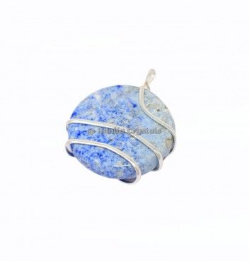 Lapis Lazuli Circle Wire Wrap Pendant