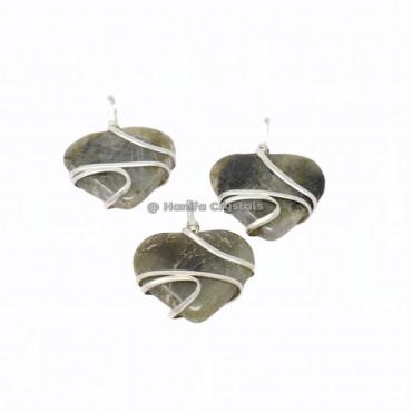Labradorite Hearts Wire Wrap Pendants