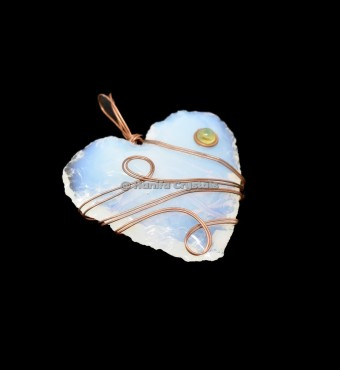 Opalite Hand Made Hearts With Citrine Stone Wire Wrap Pendant