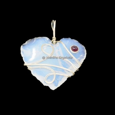 Opalite Hand Made Hearts With Garnet Wire Wrap Healing Pendant