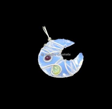 Opalite Moon With Garnet And Peridot Wire Wrap Healing Pendant