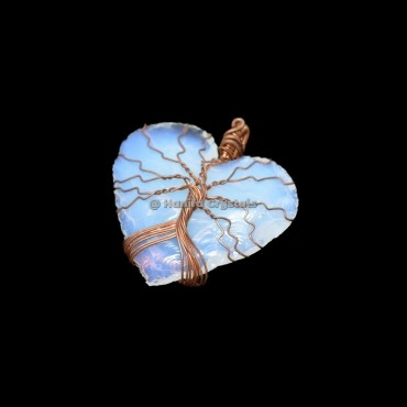 Opalite Hand Made Heart With Tree Of Life Wrap Pendant