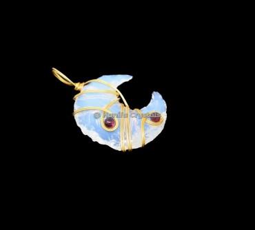Opalite Moon With Garnet Wire Wrap Healing Pendant