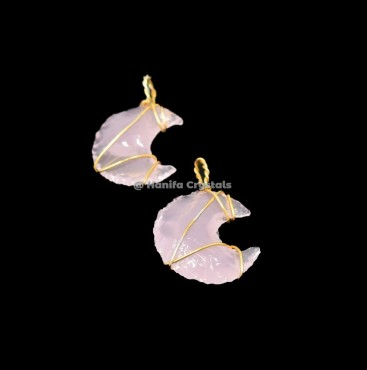 Pink Opalite Moon Gold Wire Wrap Pendant
