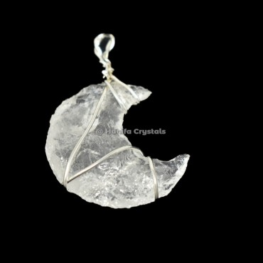 Crystal Quartz Moon Wire Wrap Pendant