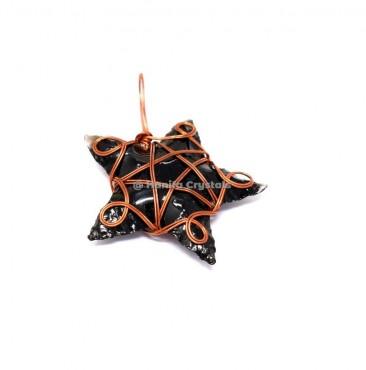 Black Obsidian Star Wire Wrap Pendant