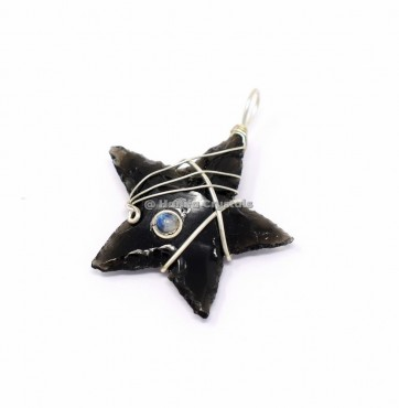 Black Obsidian Star with Rainbow Moonstone Wire Wrap Pendant