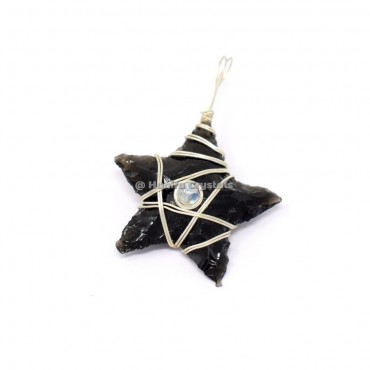 Black Obsidian Star With Moonstone Wire Pendant
