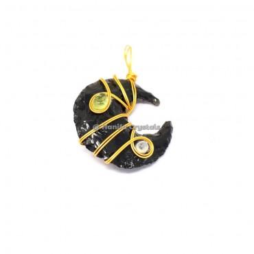 Black Obsidian Moon With Rainbow Moonstone And Citrine Pendant