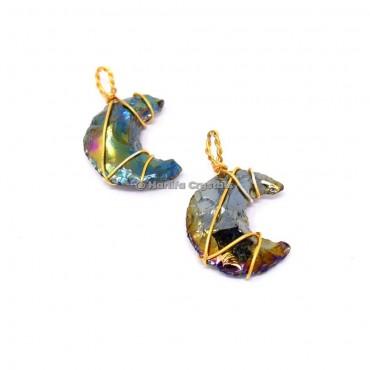 Rainbow Titanium Aura Opalite Moon  Wire wrapped Pendant