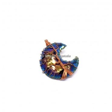 Rainbow Titanium Aura Opalite Moon Tree Of Life Wire wrapped Pendant