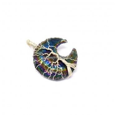 Rainbow Titanium Aura Opalite Moon Silver Tree Of Life Wire wrapped Pendant