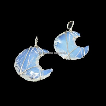Opalite Moon Wire wrapped Pendant