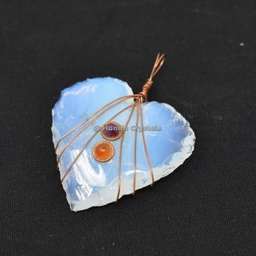 Opalite Heart Wire wrapped With Garnet And Carnelian Pendant