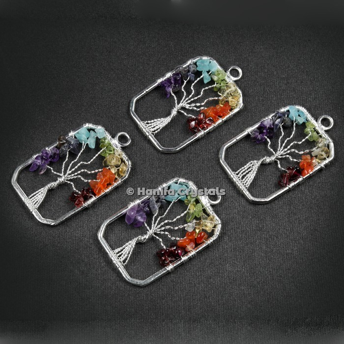 Rectangle Shape Tree Of Life Pendant in Vertical