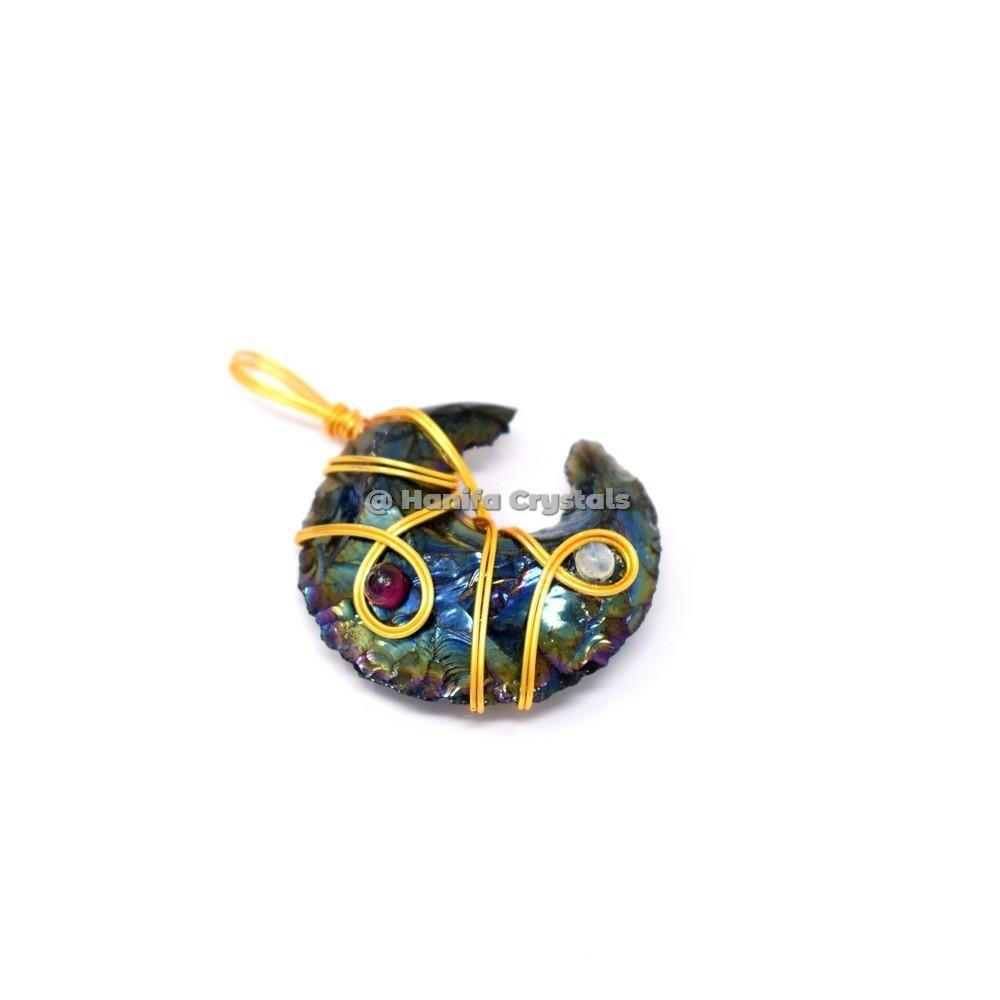 Rainbow Titanium Aura Opalite Moon With Garnet Wirewarpped Pendants